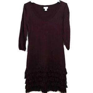 Soft Surroundings Theodora Fringe Sweater Dress L